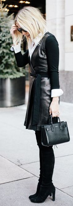 Black Leather Combo Wrap Midi Dress by Damsel In Dior