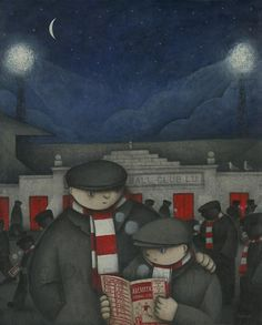 Aberdeen Gift - A Cold Night at Pittodrie Ltd Edition Signed Football Print Aberdeen Football, Premier League, Silver City, Football Art, Cold Night, Stoke On Trent, Limited Edition Prints, Original Artwork, North Sea