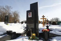 Flowers are pictured on the grave of Sergei Magnitsky at the Preobrazhensky cemetery in Moscow.