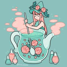 The tea witch at her work💕 Doodles Kawaii, Cute Kawaii Drawings, Arte Do Kawaii, Kawaii Art, Cute Art Styles, Cartoon Art Styles, Art And Illustration, Aesthetic Art, Aesthetic Anime