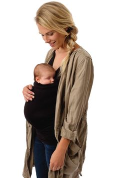 Women Mom Kangaroo Care Soothing and Breastfeeding Baby Carrier Wrap Top Hands Free Soothe Shirts M, Black
