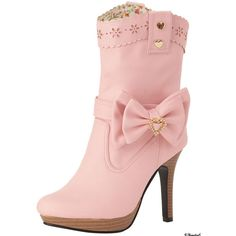 夢展望−公式サイト−-[キラリボンベルト付き♪花柄パンチング厚底ウエスタンショートブーツYD-11-C-59|P] ❤ liked on Polyvore featuring shoes, boots, pink and pink shoes