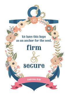 We have this hope as an anchor for the soul, firm & secure. Hebrews 6:19  God loves you so much, he doesn't want you to be tormented by fear and anxiety. He wants you to be anchored to Him and alive with hope. Let this print be your reminder that you are anchored in God and His word you can find a place of stability even in the worst situations. #wehavethishope #anchorforthesoul