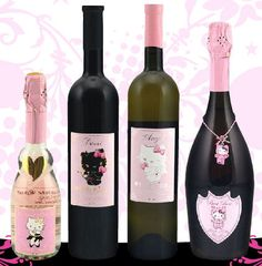 "orchidzoe: "" Hello Kitty Wine Yes it is for real and brand new. Though Hello Kitty is very Japanese, the wine is made in Italy. ""Our favorite girl. Hello Kitty Wine, Hello Kitty Rosa, Hello Kitty Gifts, Hello Kitty Items, Hello Kitty Things, Wine Bottle Images, Wine Images, Hello Kitty Collection, Cat Party"