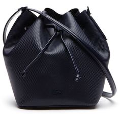 Lacoste Women's Chantaco Bucket Bag ($250) ❤ liked on Polyvore featuring bags, handbags, shoulder bags, bolsas, accessories, bucket bag, bags bags, leather goods, blue purse and real leather purses