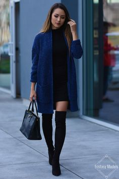 """""""  COZY BLUE CARDIGAN   Outfit details; Nasty Gal cardigan (currently on sale–over half off!)   Turtleneck dress (on sale!)   Joie over-the-knee boots   Prada Bag   Sonix Shelly Phone Case (also love this pineapple one) Fashion Look by..."""