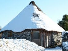 winter scene at the roundhouse at Brigits Garden, Roscahill, Co Galway