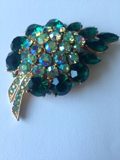 Vintage Large Leaf Brooch/  Gold Tone  Green and Aurora Borealis Austrian Crystals/ 1960-s by NeverOutOfDate on Etsy