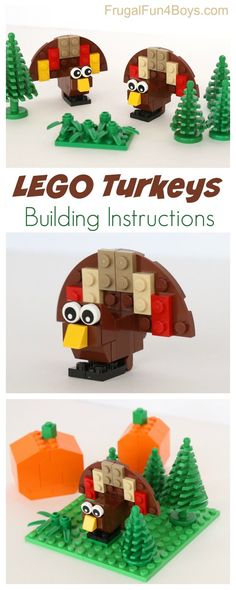 LEGO Turkey Building Instructions - Fun Thanksgiving project for kids!