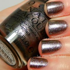 ❤️ OPI The World is                                                  Not Enough - Taupe                                                       Foil Shimmer with                                                 subtle pink iridescence -                                    relatively sheer, 4 thin coats.