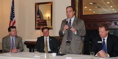 William S. Wainwright, Chancellor of Northshore Technical Community College, addresses the audience during the St. Tammany West Chamber of Commerce's 'State of Education' breakfast Friday in Mandeville. Looking on are co-panelists, from left, James Garvey, BESE member; and St. Tammany Parish schools Superintendent Trey Folse; and, right, John Donahue, president-elect of the St. Tammany West Chamber of Commerce Board of Directors. (Carol Wolfram, NOLA.com | The Times-Picayune)