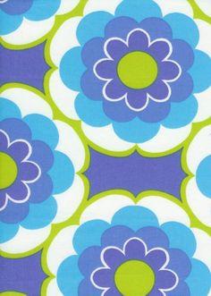 floral pattern retro blue green