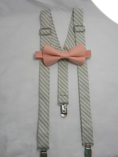 Grey Diagonal Striped Suspenders and Solid Peach Bow by JHPCouture Peach Bow Tie, Grey Bow Tie, Quinceanera Planning, Scottie, Suspenders, Outfit Ideas, Bows, Unique Jewelry, Handmade Gifts