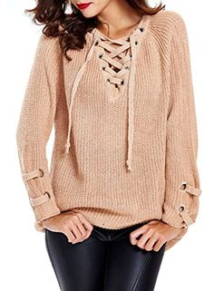 Futurino Women s Lace Up V-Neck Long Sleeve Knit Pullover... https  70286e481