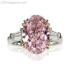 5.41ct Fancy Orangy Pink VS1 Diamond Ring - Scarselli Diamonds Gallery