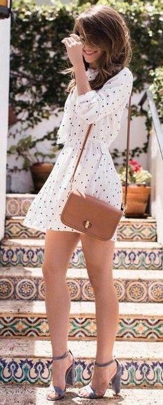 #summer #trendy #outfits |  Polka Dot Little Dress