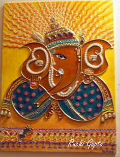 Ganesha on canvas with glass stains