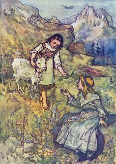 Goat Girl Heidi by Lizzie Lawson Mack Repro Greeting Card Image Center, Children's Book Illustration, Book Illustrations, Vintage Images, Vintage Postcards, Vintage Art, Illustrators, Goats, Fairy Tales