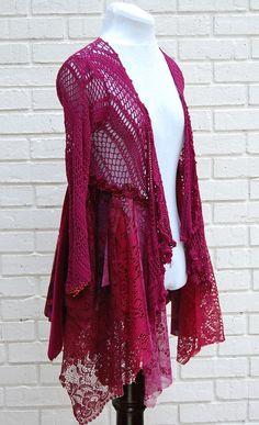 Crochet Boho Sweater Gypsy Hippie Shabby Tattered by persnickedee, $48.00