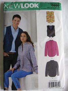 New Look by Simplicity Misses Mens Button Up Shirt and Vest Pattern 0950 UC Uncut FF Size xs s m l xl New Look Patterns, Simplicity Patterns, Sewing Patterns, Mens Button Up, Button Up Shirts, Vest Pattern, Bubble Envelopes, Ruffle Blouse, Unisex