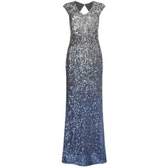 Phase Eight Collection 8 Charlie Sequin Maxi Dress, Silver/Blue ($470) ❤ liked on Polyvore featuring dresses, blue evening gown, long-sleeve mini dress, silver evening dresses, cap sleeve evening gown and silver sequin gown