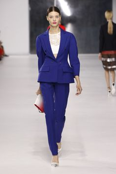 Dior Cruise 2014 – Look 3: Cobalt blue wool jacket with cobalt blue wool pants and off white knitted bra. Discover more on www.dior.com #Dior