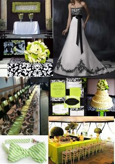I Adore The Black White With Lime Green Accents This Upscale Wedding Inspiration