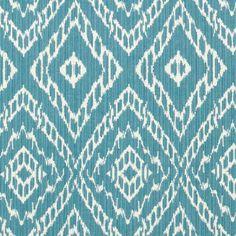 Turquoise Ikat Fabric by the Yard - Blue White Upholstery Yardage - Home Decor Ikat - Modern Aqua Blue Drapery Material - Reversible Fabric
