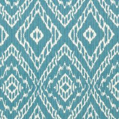 Turquoise Ikat Fabric by the Yard - Blue White Upholstery Yardage - Home Decor Ikat - Modern Aqua Blue Drapery Material - Reversible Fabric