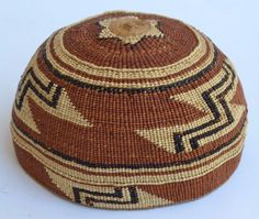 Beautiful Native American Indian Hupa Area Basket Hat 1920's Three Color