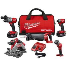 Milwaukee Fuel Lithium-Ion Brushless Hammer Drill/Impact Driver/Sawzall/LED Light Combo Kit at The Home Depot Cordless Drill Reviews, Cordless Hammer Drill, Cordless Circular Saw, Circular Saw Blades, Milwaukee Tools, Milwaukee M18, Driver Tool, Drill Driver, Cordless Power Tools