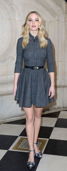 Jennifer Lawrence at the Dior Fashion Show in Paris Happiness Therapy, Jennifer Lawrence Style, Beautiful Female Celebrities, Smart Outfit, Sophisticated Dress, Hollywood, Paris Shows, American, Muse