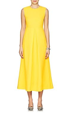 We Adore: The Wool Crepe Midi-Dress from Lisa Perry at Barneys New York Cute Dresses, Vintage Dresses, Dresses For Work, Women's Dresses, Yellow Midi Dress, Over 50 Womens Fashion, Women's Fashion, Ladies Dress Design, Custom Clothes