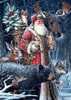 Father Christmas (St. Nick) with wild animal friends by Liz Goodrick-Dillon