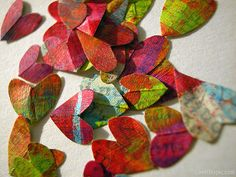 Painted paper hearts love cute colorful hearts art paper. For Windchime?
