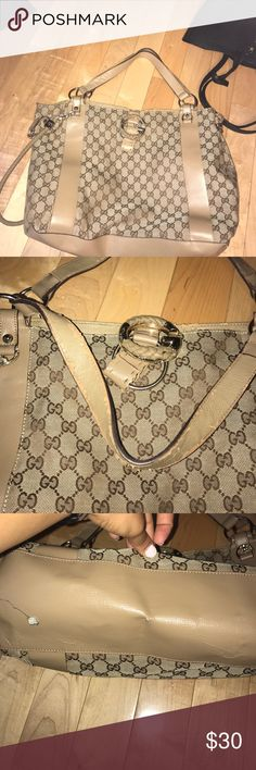 Totebag Non authentic Gucci tote bag peeling on inside straps and bottom bag and ink stain inside bag shown in pictures still very usable Gucci Bags Totes