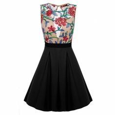 ACEVOG Women Vintage Style A-line Sleeveless Embroidery Casual Party Cocktail Dress