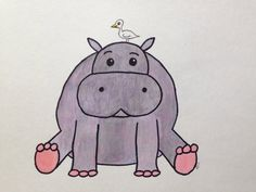 Hippo with Bird on Etsy, $25.00