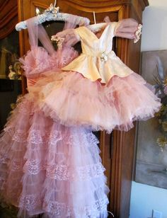 1950's pink Tulle Prom Ball Gown Doll Dress Large by VannasArmoire