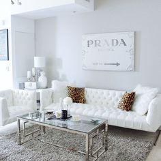Gray & White Living Room Decor | White Tufted Sofa | Prada Canvas | Living room of Hayley Larue from BlondieintheCity.com
