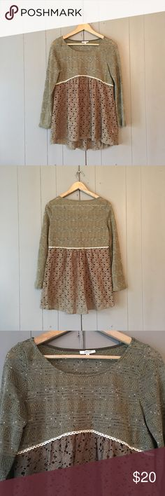 """Olive Green Babydoll Eyelet Top  Super cute top/Tunic in like new condition! Stretchy. Armpit to armpit is 19"""". Length is 26"""" in the front and 28"""" in the back. Offers are welcome. ☺️ Jodifl Tops Tunics"""