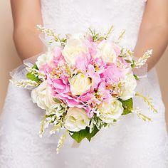 """Bouquets+de+Noiva+Redondo+Rosas+Buquês+Casamento+Seda+Rosa+11.02""""(Aprox.28cm)+–+EUR+€+24.49"""