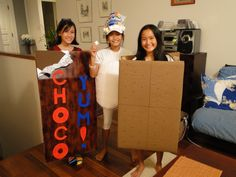 My kids' threesome  S'more costume @Cheryl Marshall OMG I am soooo doing the Marshmallow hat!!!