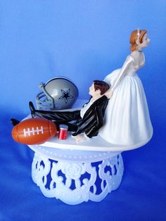 Funny Wedding Cake Topper Football Themed by CreationsByDhyani, $39.99