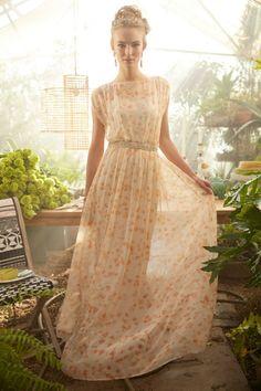 Anthropologie  Peach Blossom Maxi Dress