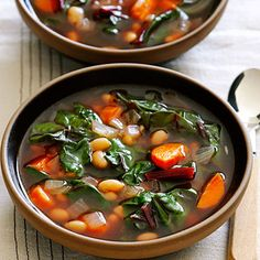 Ruby Swiss Chard and White Bean Soup | We like the robust flavor of red Swiss chard in this soup recipe from Sunset reader Juliet Grossman, of Temecula, California. You could also make it with green Swiss chard, which is milder, or spinach.
