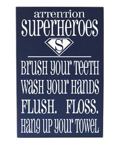 Look what I found on #zulily! Blue Super Hero Bathroom Rules Wall Sign #zulilyfinds