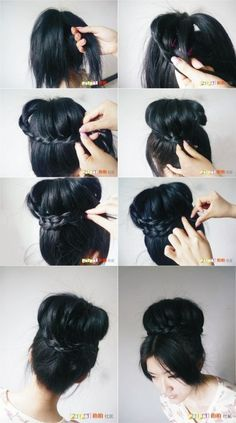 Im going to do this! My hair is too log for these hair donuts. So the braid will reduce the length!