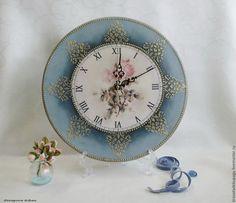 Купить Часы интерьерные, декупаж - голубой, часы, часы настенные, часы интерьерные