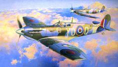 Spitfire Mk Vb, 401 Sqn. RCAF (Real fuerza Aérea Canadiense), verano de 1943 (Shigeo Koike). Más en www.elgrancapitan.org/foro/